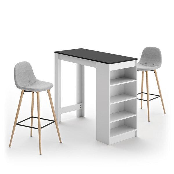 Temahome - A-COCOON table et chaises - Blanc et noir - Gris clair