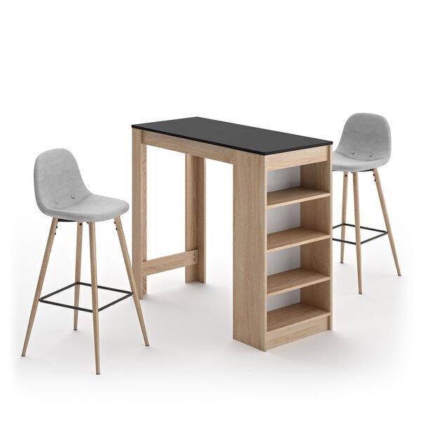 Temahome - A-COCOON table et chaises - Chêne naturel et noir - Gris clair
