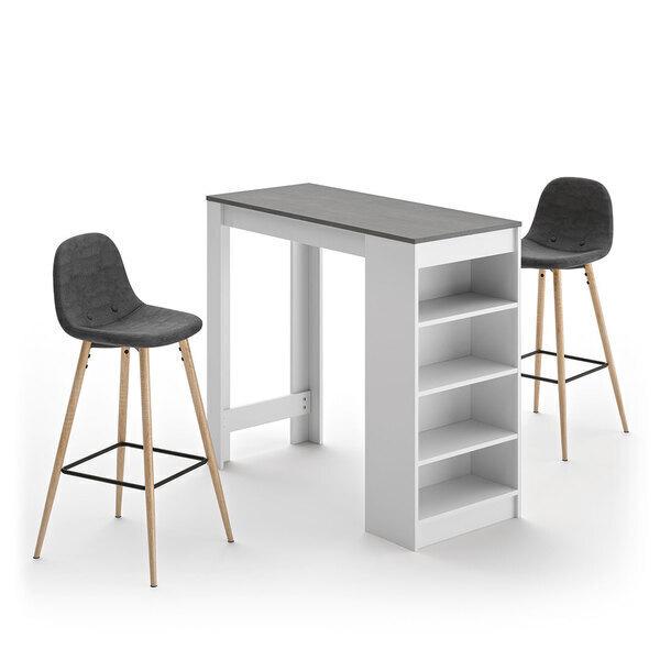 Temahome - A-COCOON table et chaises - Blanc et béton - Gris anthracite
