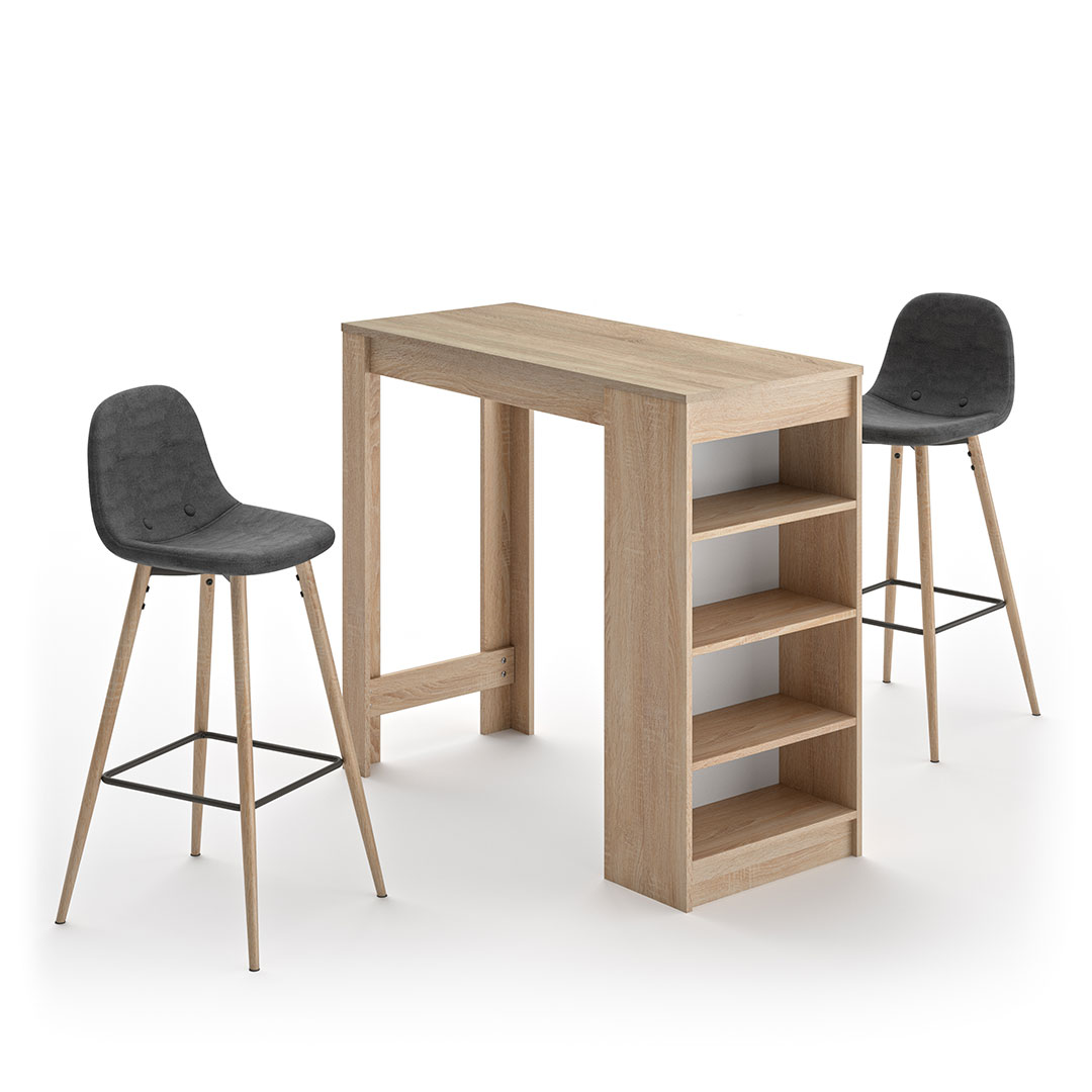 Temahome - A-COCOON table et chaises - Chêne naturel  - Gris anthracite