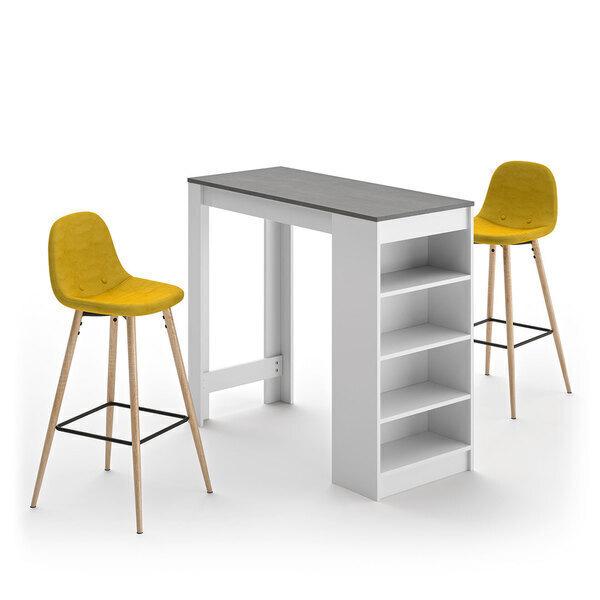 Temahome - A-COCOON table et chaises - Blanc et béton - Jaune