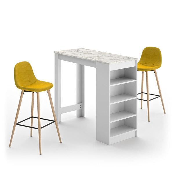 Temahome - A-COCOON table et chaises - Blanc et marbre - Jaune
