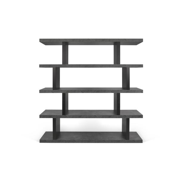 Temahome - Bibliothèque haute STEP - Béton et noir