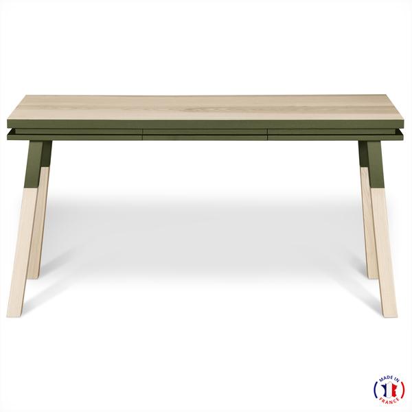 Mon petit meuble français - Bureau Console rectangulare, 100% frêne massif 140x77 cm
