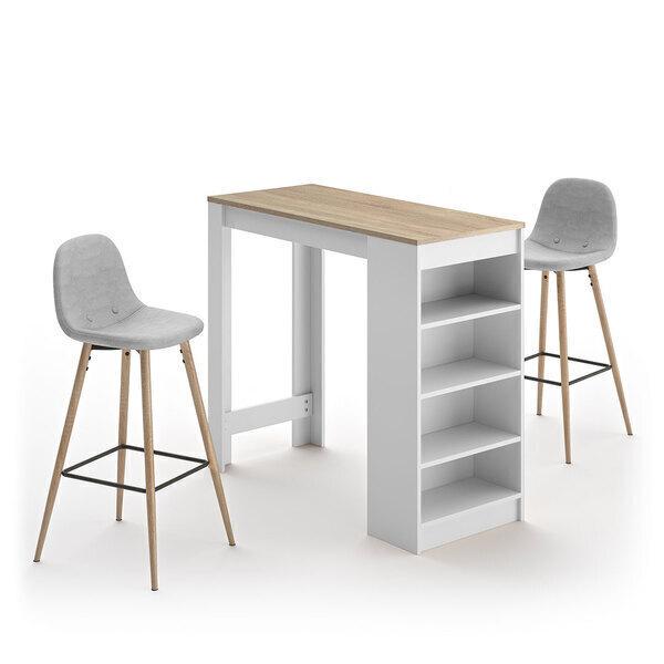 Temahome - A-COCOON table et chaises - Blanc et chêne naturel - Gris clair