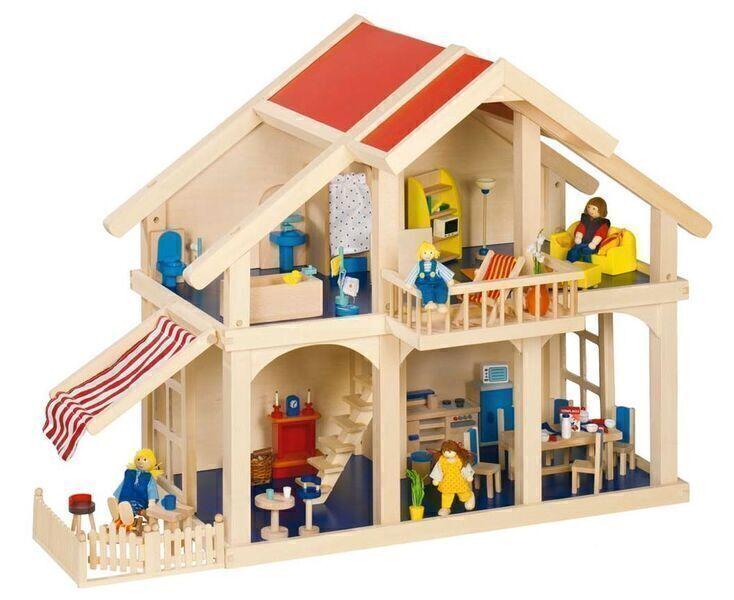 Goki - Maison poupées avec véranda en bois massif - Goki