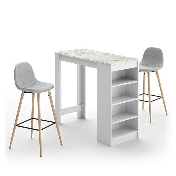 Temahome - A-COCOON table et chaises - Blanc et marbre - Gris clair