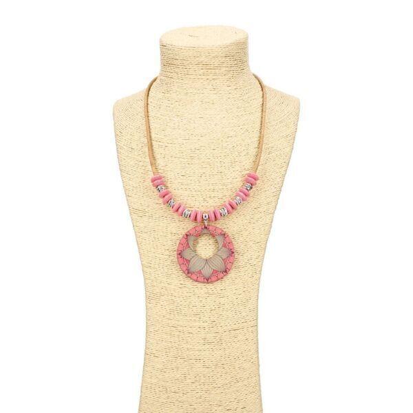 """OAK Forest - Collier en liège artisanal """"Lotus Rose"""""""