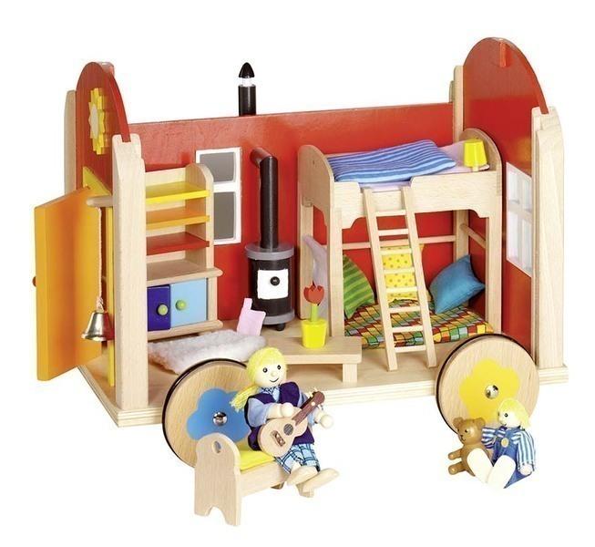 Goki - Roulotte en bois pour poupées avec accessoires - Goki