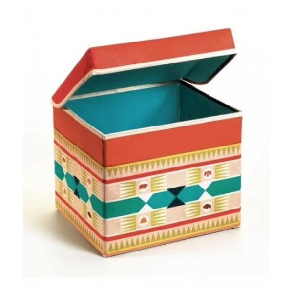 Djeco - Coffre a jouets pliable tabouret motif Tipi