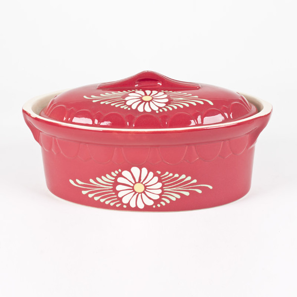Poteries Rene Beck - Terrine ovale 4.3l rouge/marguerite