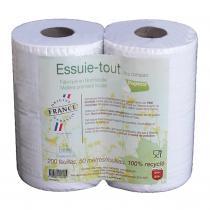 PAPECO - Essuie-tout blanc 100% recyclé 200 feuilles x2 Ecolabel