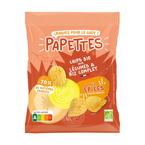 PAPETTES - Chips BIO aux légumes & riz complet, aux épices 70g