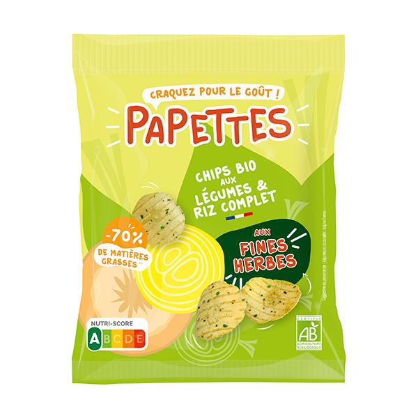 PAPETTES - Chips BIO aux légumes & riz complet, aux fines herbes 25g