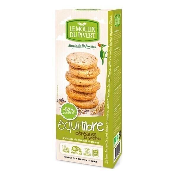 Le Moulin du Pivert - Biscuits Equi'libre céréales et graines vegan 150g bio