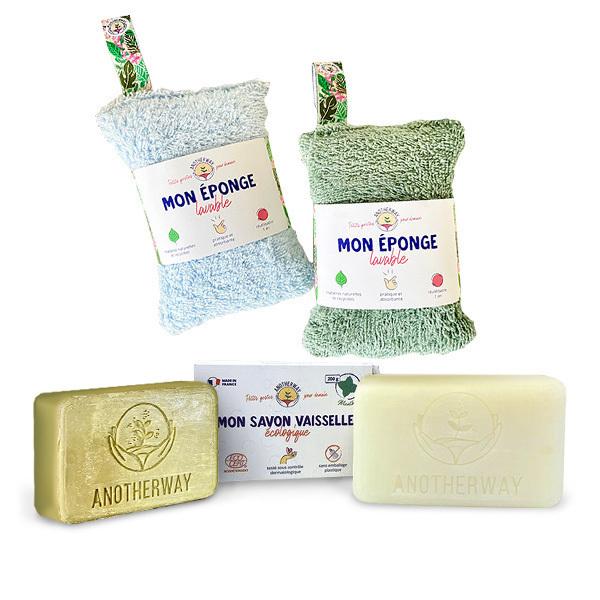 Packs Zéro Déchet - Pack Vaisselle écologique 2 éponges et 2 savons