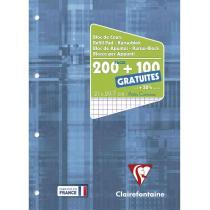 Clairefontaine - Bloc de cours A4 200+100 pages 90g/m² Q5x5 perforé 4 trous