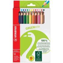 Stabilo - Etui de 12 Crayons de couleur GREENtrio épais mine 4,2 mm