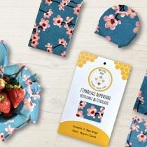 My Little Bee - Bee Wrap | Emballage alimentaire Bio | Lot de 3 Cerisier