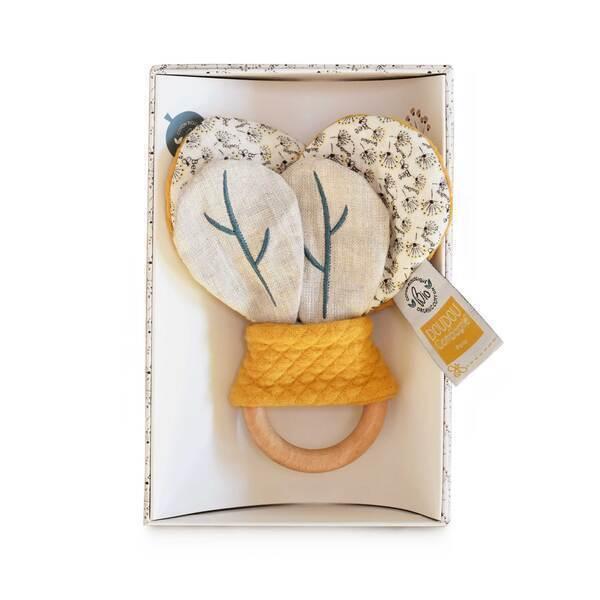 Doudou et Compagnie - Hochet en bois avec papier craquant Pollen l'abeille bio
