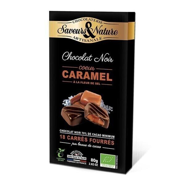 Saveurs & Nature - Carrés de chocolat noir fourrés caramel x18 - 80g bio