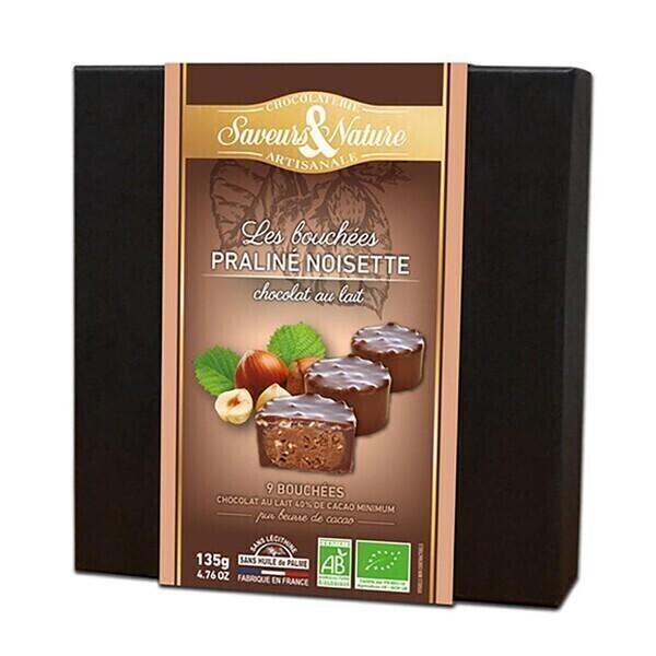 Saveurs & Nature - Bouchées praliné noisette - chocolat au lait x9 - 135g bio