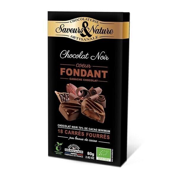 Saveurs & Nature - Carrés de chocolat noir fourrés ganache chocolat x18 - 80g bio