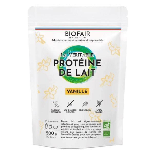 BIOFAIR NUTRITION - La véritable protéine de lait bio Vanille - 500g