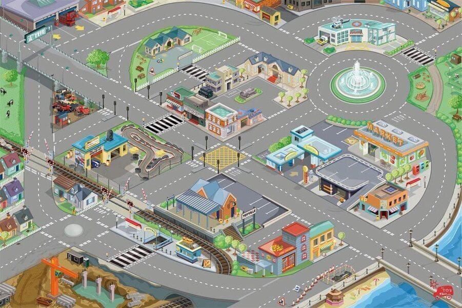 Le toy van - Tapis de jeux routes et ville - Medium