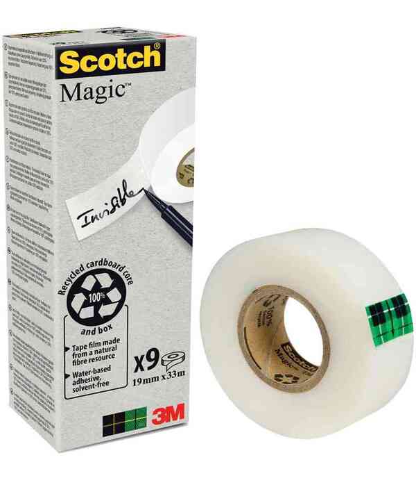 Scotch - Boite de 9 Rouleaux adhésifs Invisible MAGIC 900 Recyclé 19mx33m