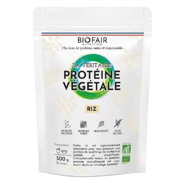 BIOFAIR NUTRITION - La véritable protéine végétale bio Riz brun - 500g