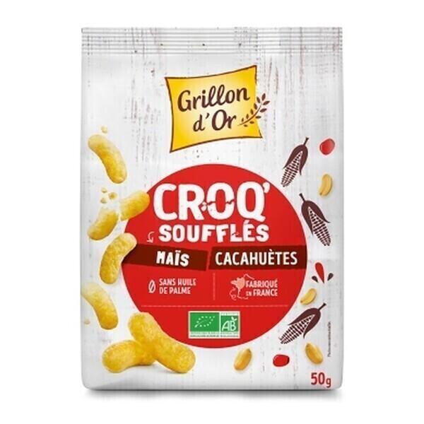Grillon d'or - Croq'soufflés maïs et cacahuète 50g bio