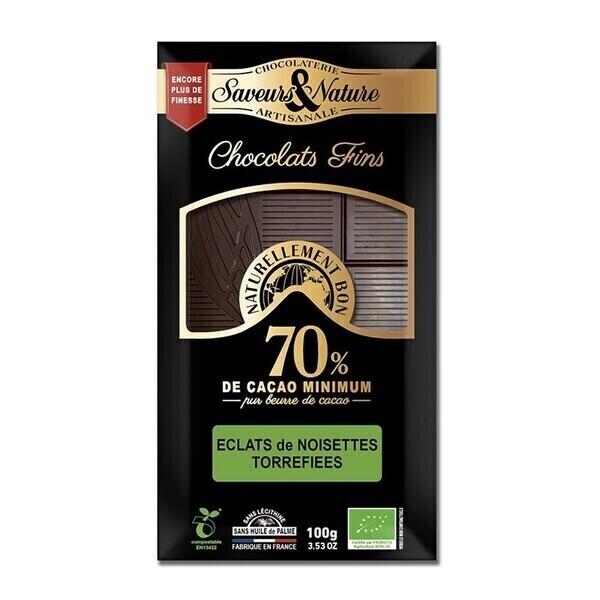Saveurs & Nature - Chocolat noir 70% à la noisette 100g bio