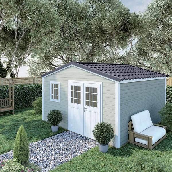 FOREST STYLE - Abri de jardin bois SHELTY PLUS 16m², toiture en acier galvanis