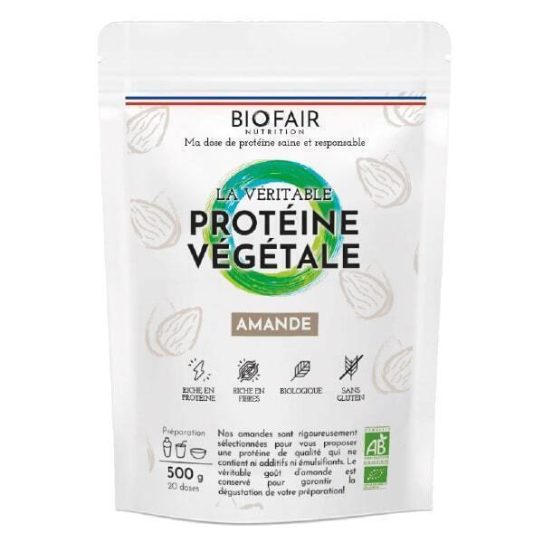 BIOFAIR NUTRITION - La véritable protéine végétale bio Amande - 500g