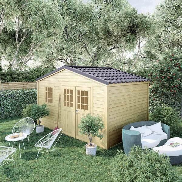 FOREST STYLE - Abri de jardin bois SHELTY PLUS 11m², toiture en acier galvanis