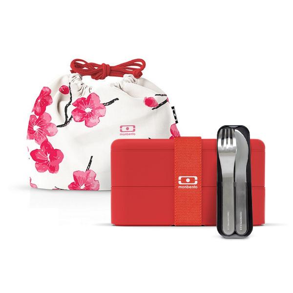 monbento - Pack Bento carré MB Square Blossom, couverts, sac de transport