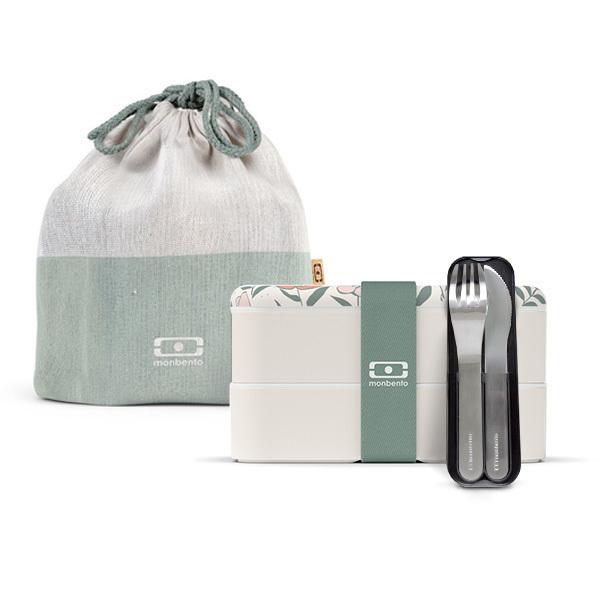monbento - Pack Bento MB Original Bloom, couverts et sac de transport