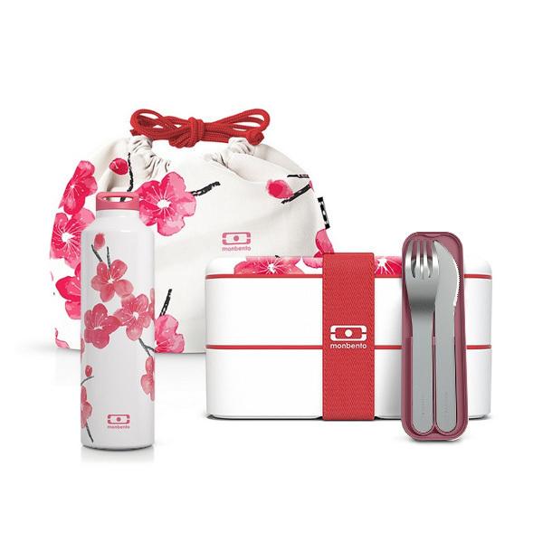 monbento - Pack MB Original graphic Blossom, bouteille et accessoires