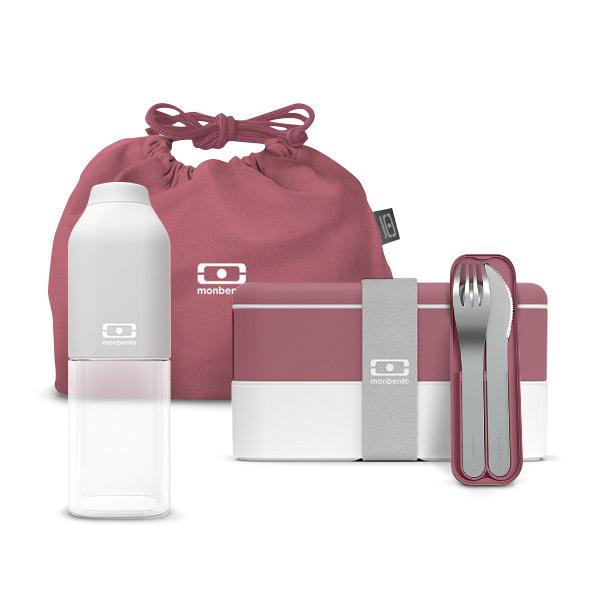 monbento - Pack Bento MB Original Rose Blush, bouteille et accessoires
