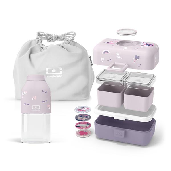 monbento - Pack Bento MB Tresor Purple Ballet, bouteille et sac