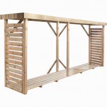 FOREST STYLE - Bûcher en bois DALLAS XXL 3,8m3, avec toiture plate et plancher