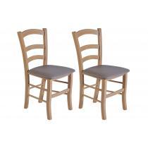 Hellin - Chaises bois chêne clair - assise simili colorée (Lot de 2) - TI