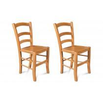 Hellin - Chaises bois - assise bois-  TINA (Lot de 2)