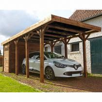 FOREST STYLE - Carport bois traité HARRY, 1 voiture, couverture en polycarbona