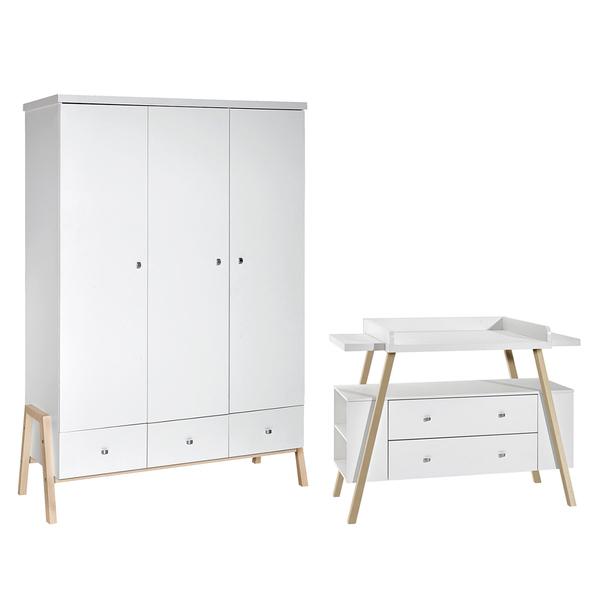 Schardt - Commode avec plan à langer et armoire 3 portes Charly - Blanc