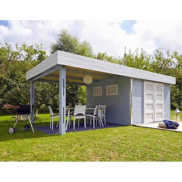 FOREST STYLE - Abri de jardin bois LOUNJ 17.5m², auvent de toit, madriers 28mm