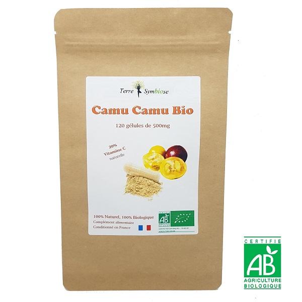 Terre Symbiose - Camu Camu Bio , 120 gélules 500mg,  Vitamine C Naturelle 20%