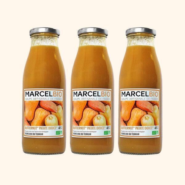 Marcel Bio - Soupe de Butternut Patate Douce Bio - 3 x 48cl