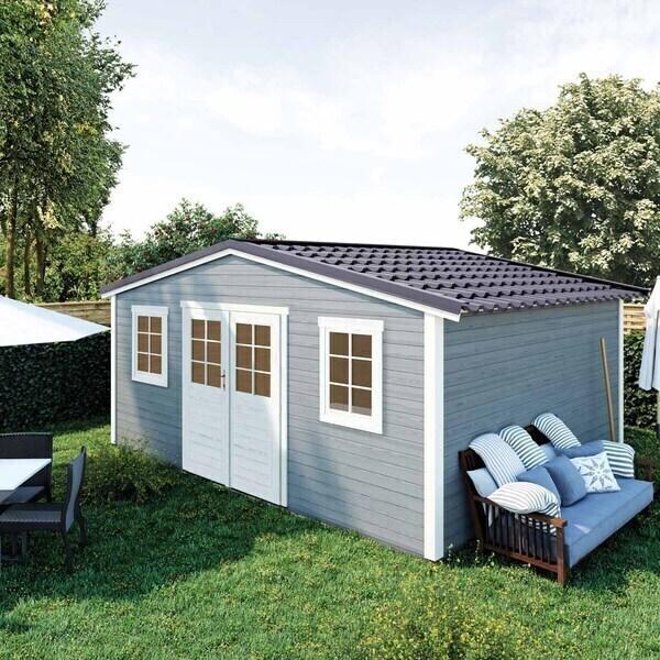 FOREST STYLE - Abri de jardin bois SHELTY PLUS 20m², toiture en acier galvanis